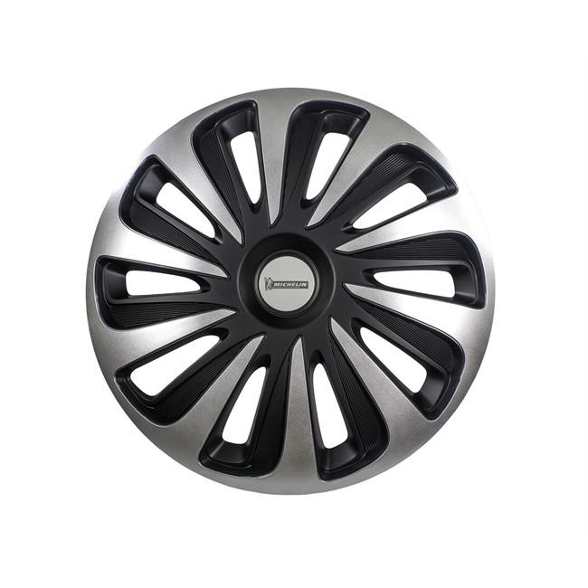 4 Enjoliveurs Gris/noir Michelin 3d Black Edition 14 Pouces