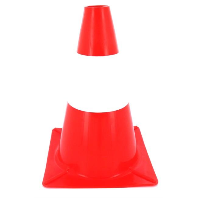 C ne de signalisation orange et blanc 30 cm de hauteur - Plot de signalisation ...