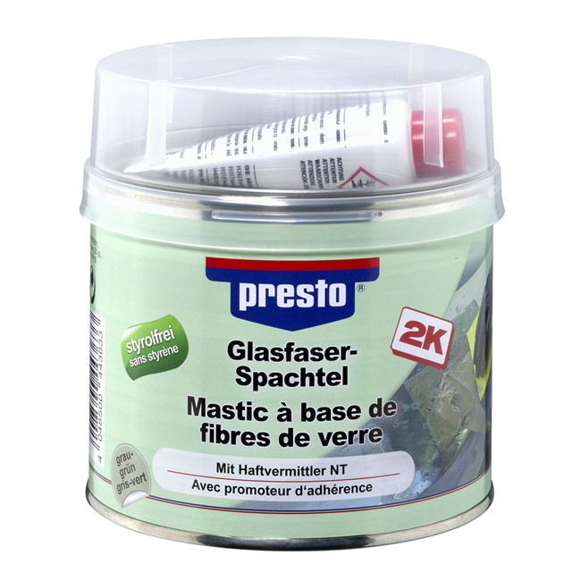 mastic fibre de verre avec durcisseur presto 1 kg. Black Bedroom Furniture Sets. Home Design Ideas