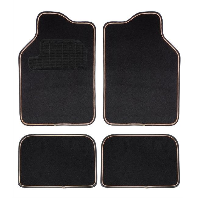 4 tapis voiture universels moquette hvd latina noir liser beige. Black Bedroom Furniture Sets. Home Design Ideas