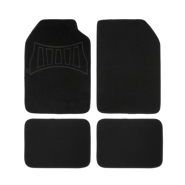 4 tapis de voiture universels moquette 1er prix confiance 2016h noirs. Black Bedroom Furniture Sets. Home Design Ideas