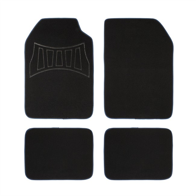 4 tapis de voiture universels moquette 1er prix confiance noir et bleu. Black Bedroom Furniture Sets. Home Design Ideas