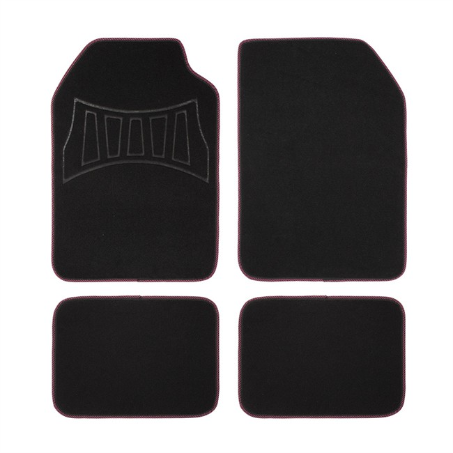 4 tapis de voiture universels moquette 1er prix confiance 2016h noirs et roses. Black Bedroom Furniture Sets. Home Design Ideas