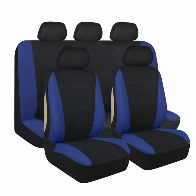 jeu complet de housses universelles voiture 1er prix noires et bleues. Black Bedroom Furniture Sets. Home Design Ideas