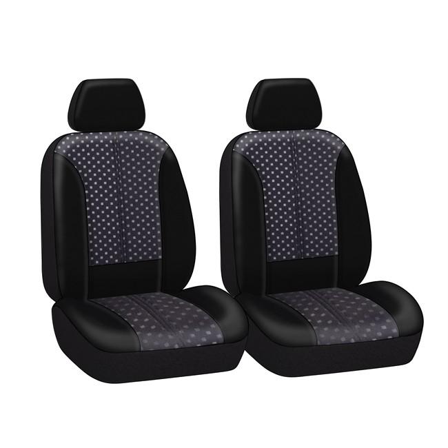 jeu de housses universelles 2 si ges avant voiture jeanne noires et grises. Black Bedroom Furniture Sets. Home Design Ideas