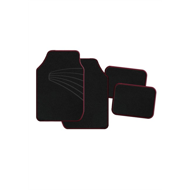 4 tapis de voiture universels moquette 1er prix twister noirs et rouges. Black Bedroom Furniture Sets. Home Design Ideas