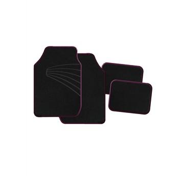 4 tapis de voiture universels moquette 1er prix twister noir ganse rose. Black Bedroom Furniture Sets. Home Design Ideas