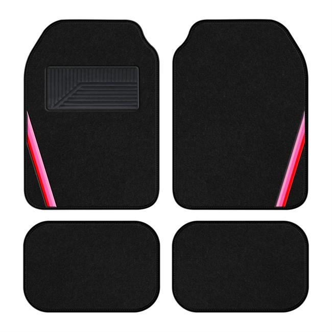 4 tapis de voiture universels moquette 1er prix summer noir bande rose. Black Bedroom Furniture Sets. Home Design Ideas