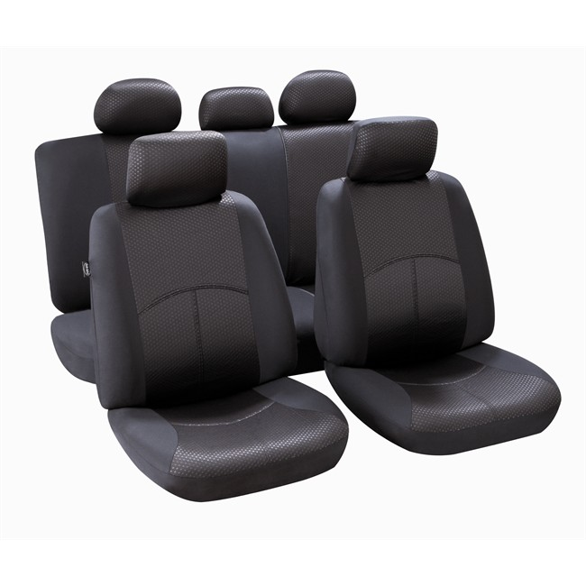jeu complet de housses universelles voiture norauto ningbo noires berline. Black Bedroom Furniture Sets. Home Design Ideas