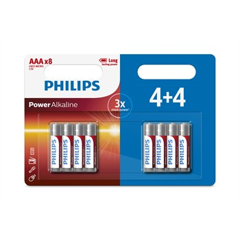 8 piles 1,5V AAA/LR03 PHILIPS Power Alkaline