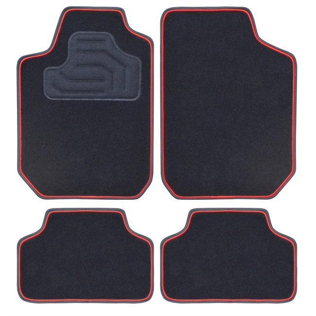 4 tapis de voiture universels moquette twin noirs et rouge. Black Bedroom Furniture Sets. Home Design Ideas