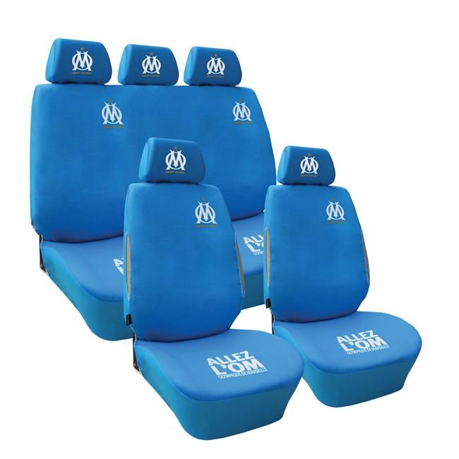 jeu complet de housses universelles voiture olympique de marseille bleues. Black Bedroom Furniture Sets. Home Design Ideas