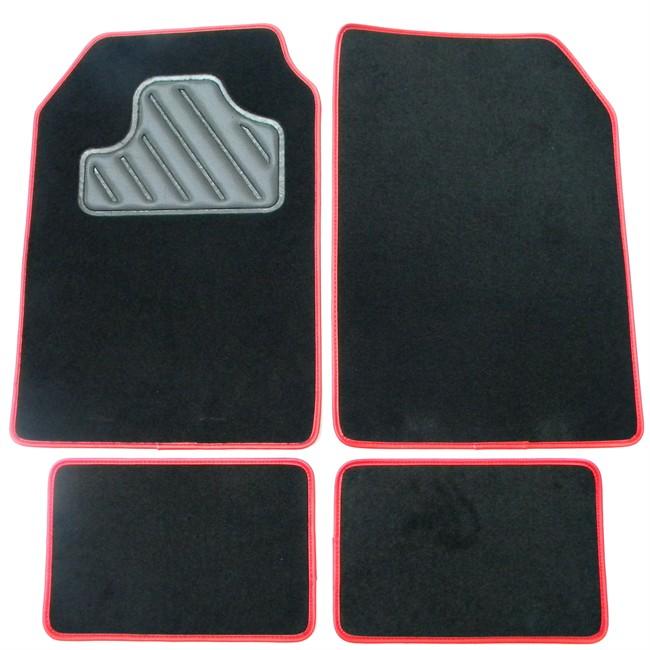 4 tapis de voiture universels moquette armada a400 noirs ganse rouge. Black Bedroom Furniture Sets. Home Design Ideas