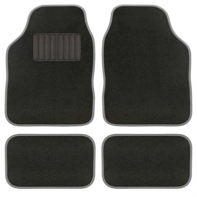 4 tapis de voiture universels moquette aquarella noir ganse grise. Black Bedroom Furniture Sets. Home Design Ideas