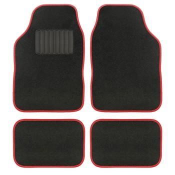 4 tapis de voiture universels moquette aquarella noir ganse rouge. Black Bedroom Furniture Sets. Home Design Ideas