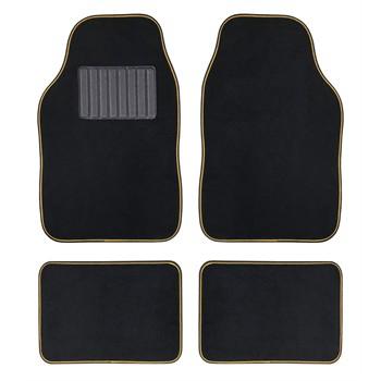 4 tapis de voiture universels moquette hana noir ganse jaune. Black Bedroom Furniture Sets. Home Design Ideas