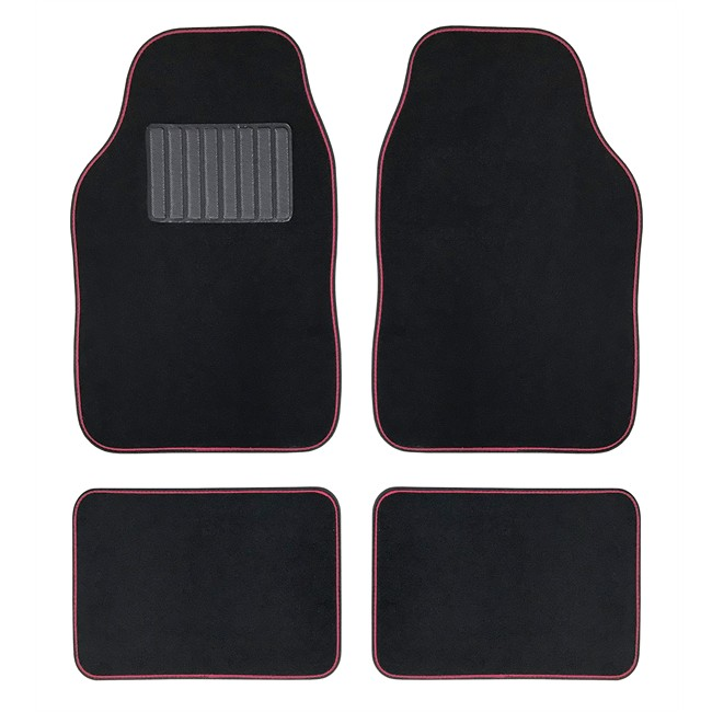 4 tapis de voiture universels moquette hana noir ganse rose. Black Bedroom Furniture Sets. Home Design Ideas