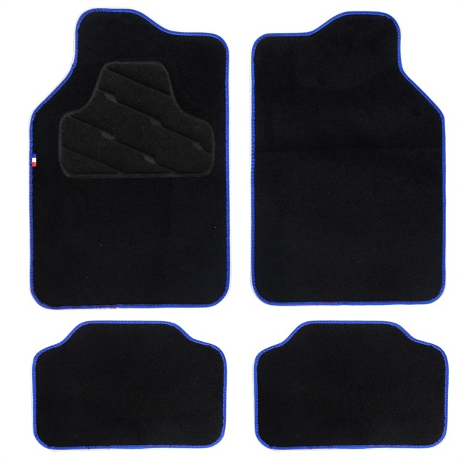 4 tapis de voiture universels moquette hvd noir ganse et tag france. Black Bedroom Furniture Sets. Home Design Ideas