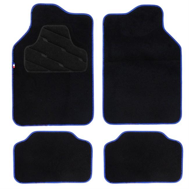 jeu de 4 tapis de voiture universels moquette hvd noir ganse et tag france. Black Bedroom Furniture Sets. Home Design Ideas