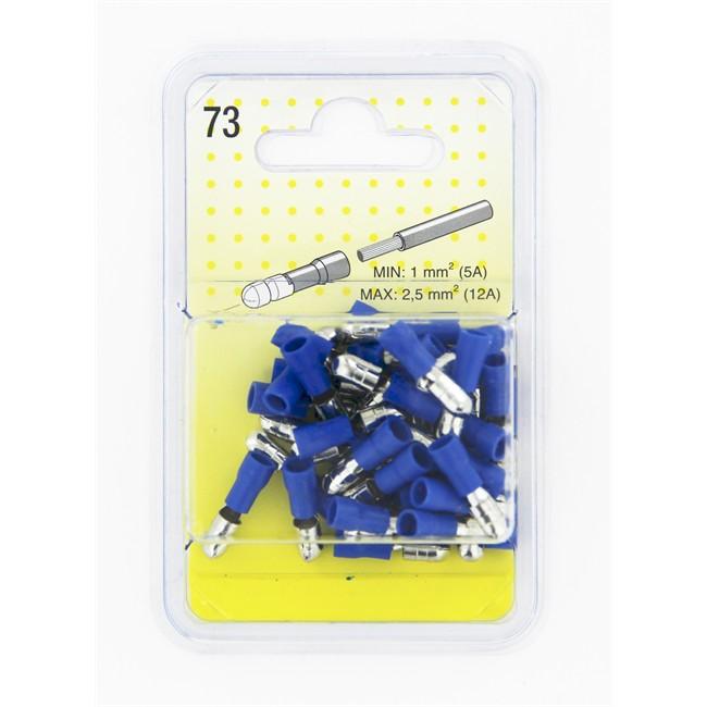 40 Cosses Cylindriques Bleues 5 Mm Mâle