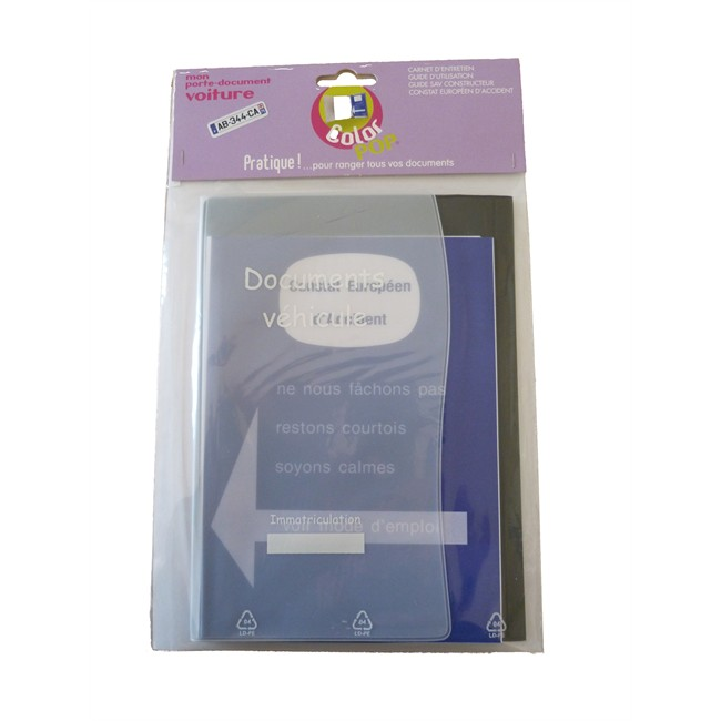 1 Porte Papiers Voiture + Constat Colorpop Gris Foncé Pvc
