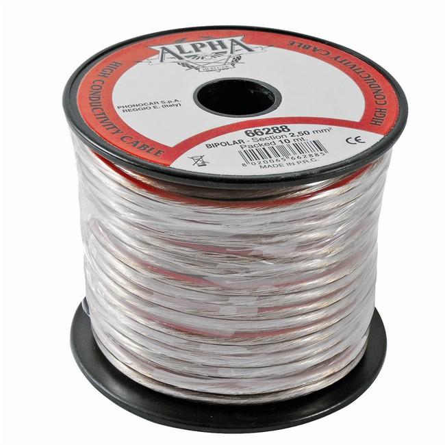 Câble Alpha De Section 2,5 Mm² En Pvc Transparent Phonocar