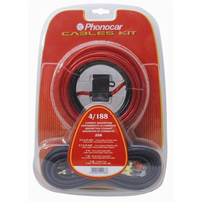 Kit Câbles Et Accessoires Section 6 Mm² Phonocar