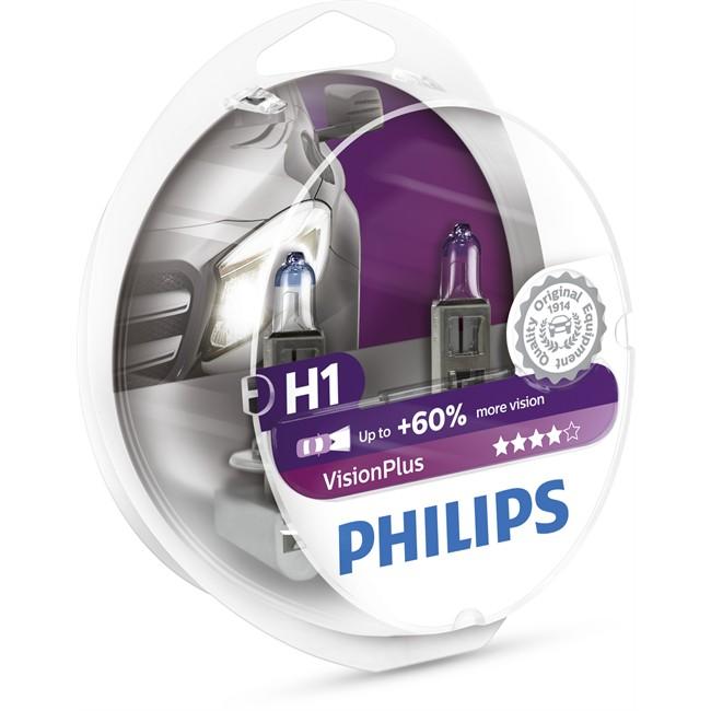 2 ampoules philips h1 visionplus 55 w 12 v. Black Bedroom Furniture Sets. Home Design Ideas