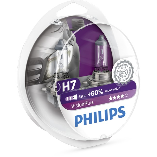 2 ampoules philips h7 visionplus 55 w 12 v. Black Bedroom Furniture Sets. Home Design Ideas