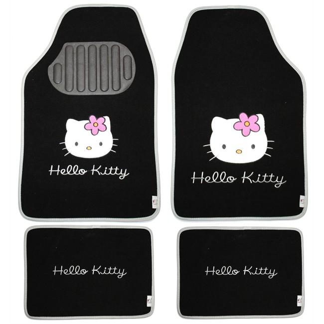 4 tapis de voiture universels moquette hello kitty noirs. Black Bedroom Furniture Sets. Home Design Ideas
