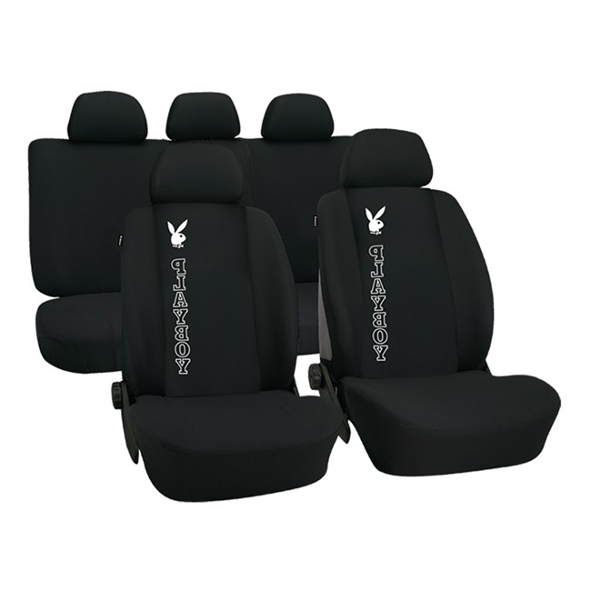 jeu complet de housses universelles voiture playboy noires. Black Bedroom Furniture Sets. Home Design Ideas