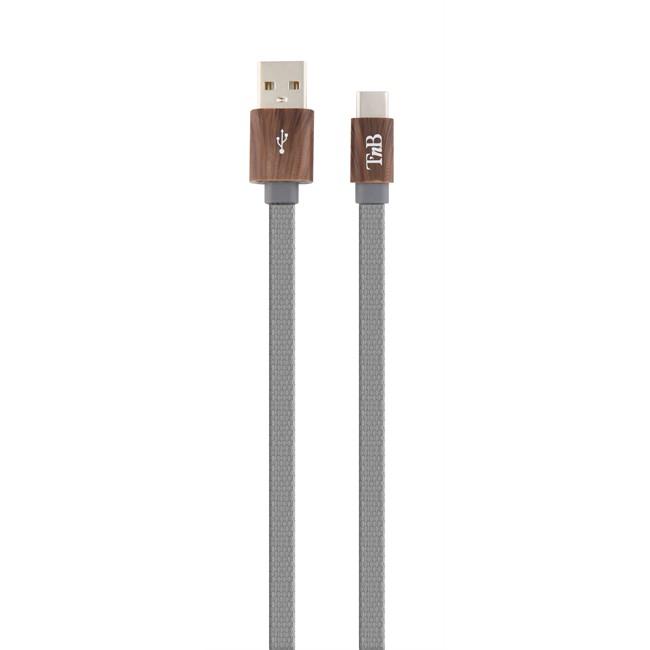 Câble Usb Type C Plat Tressé 1 M Gris Tnb
