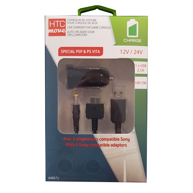 Chargeur Allume-cigare Htc Sony 2,1a + Câble Psp Ps Vita 1 M