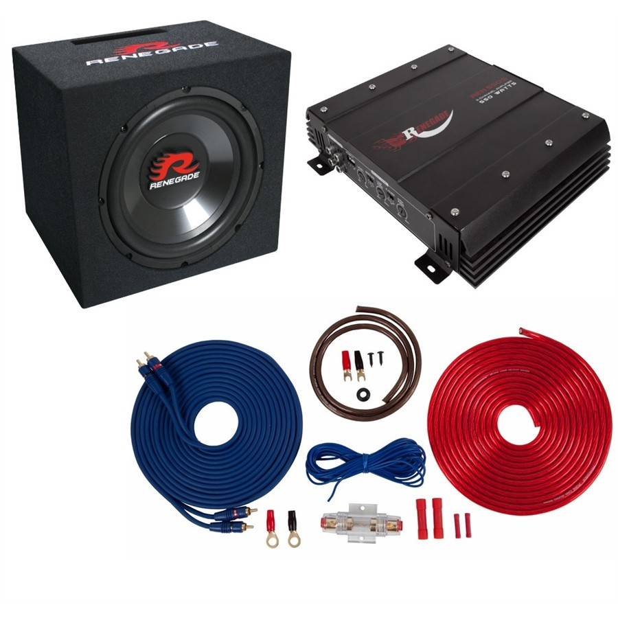 Pack ampli + caisson + kit alimentation RENEGADE PACK-REBK550XL