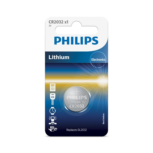 1 pile bouton 3v cr2032 philips lithium. Black Bedroom Furniture Sets. Home Design Ideas