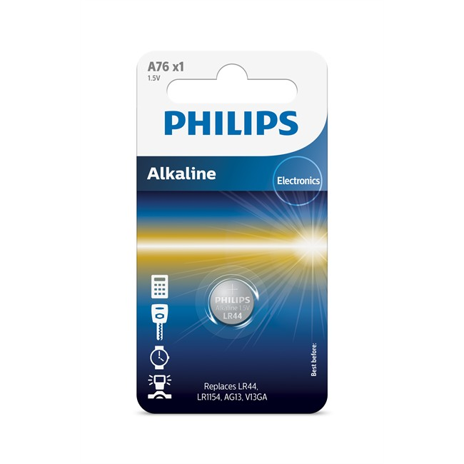 1 pile bouton 1 5v lr44 philips alkaline. Black Bedroom Furniture Sets. Home Design Ideas