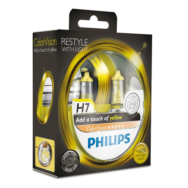 2 ampoules philips h7 colorvision jaune 60 55 w 12 v. Black Bedroom Furniture Sets. Home Design Ideas