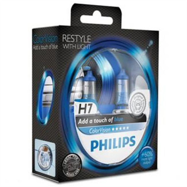 2 ampoules philips h7 colorvision bleu. Black Bedroom Furniture Sets. Home Design Ideas