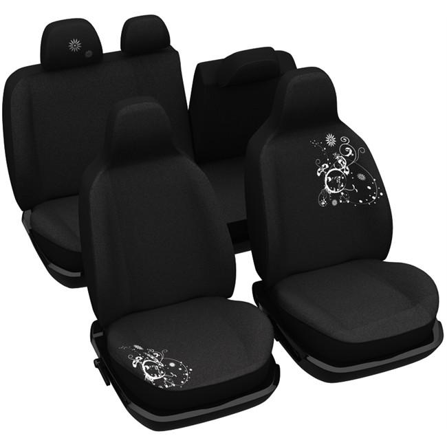 jeu complet de housses universelles voiture sp cial citadine norauto arabesk noires. Black Bedroom Furniture Sets. Home Design Ideas