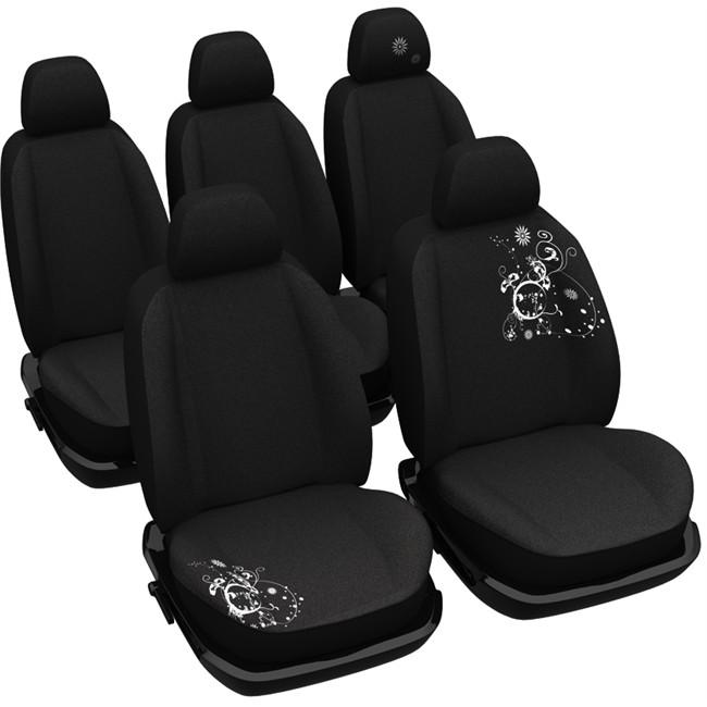 jeu complet de housses universelles voiture sp cial monospace norauto arabesk noires. Black Bedroom Furniture Sets. Home Design Ideas