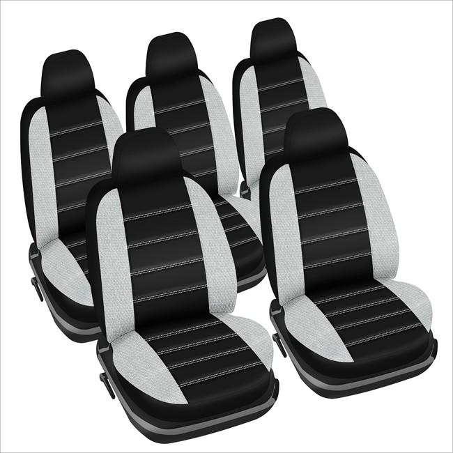 jeu complet de housses universelles voiture sp cial monospace norauto fast noires et blanches. Black Bedroom Furniture Sets. Home Design Ideas