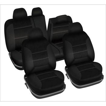 jeu complet de housses universelles voiture sp cial berline norauto varsovie noires. Black Bedroom Furniture Sets. Home Design Ideas