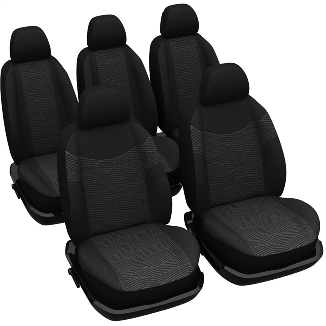 jeu complet de housses universelles voiture sp cial monospace norauto brussel noires. Black Bedroom Furniture Sets. Home Design Ideas