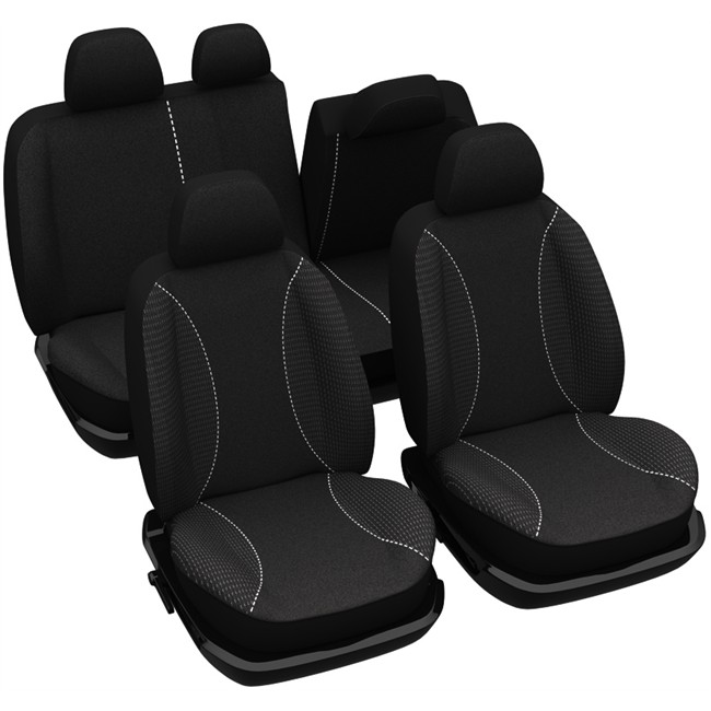 jeu complet de housses universelles voiture sp cial citadine norauto roma noires. Black Bedroom Furniture Sets. Home Design Ideas