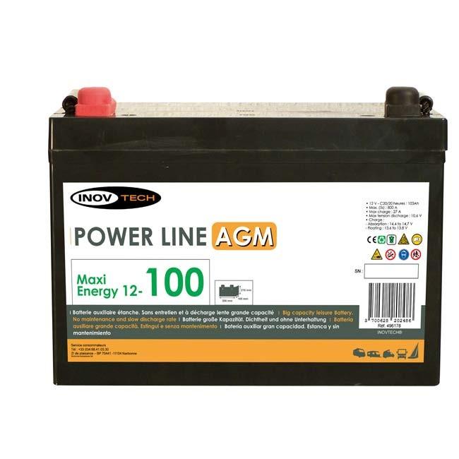 Batterie INOVTECH 103Ah Power Line AGM réf. 496178 : Norauto.fr