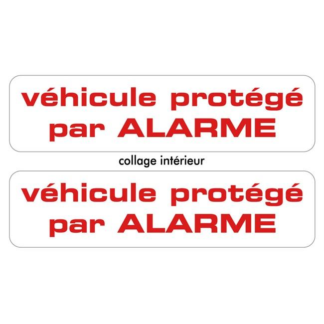 2 stickers autocollants prot g par alarme. Black Bedroom Furniture Sets. Home Design Ideas