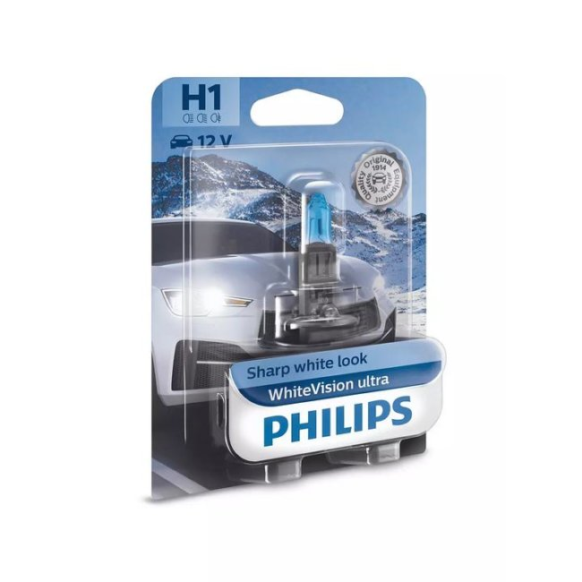 1 Ampoule Philips H1 Whitevision Ultra 12v 55w