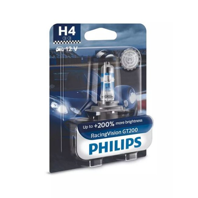 1 Ampoule Philips H4 Racing Vision Gt200 12v 60/55w