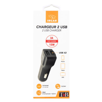 Chargeur allume-cigare 2 USB TNB