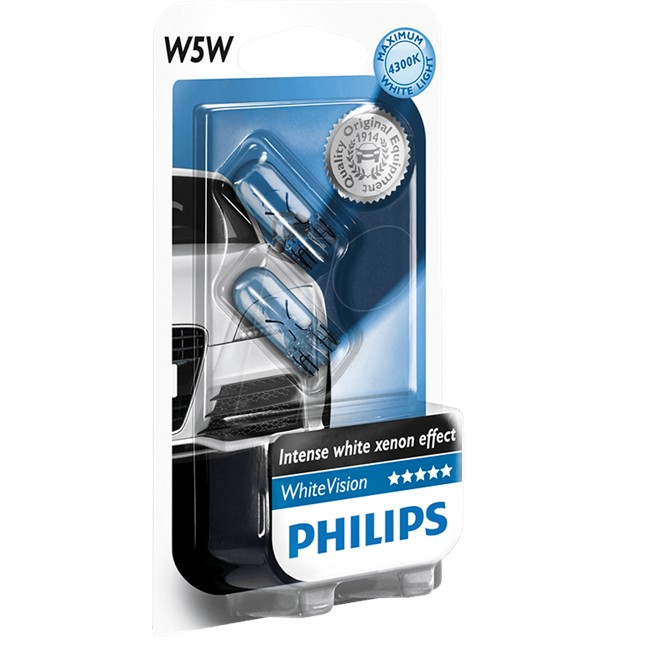 2 Ampoules Philips W5w Whitevision 12 V